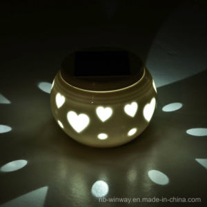 Colour Changing Solar Ceramic Lamp for Valentine′s Day Gift pictures & photos