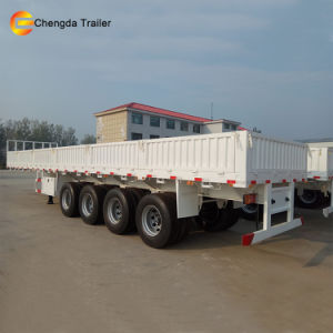 3 Axle Side Wall Dropside high Bed Cargo Semi Trailer pictures & photos