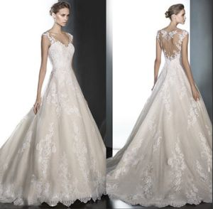 Cap Sleeves Bridal Gown Lace Tulle 2018 A-Line Wedding Dress Lb1823 pictures & photos