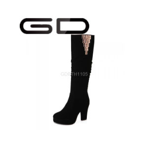Round Toe Suede Chunky High Heels Knee High Boots for Girls