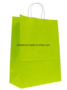 Tea Paper Bag Color Printing Twisted Handle Kraft Paper Carrier Bags