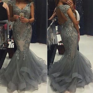 2017 Mermaid Evening Dress Silver Beaded Formal Gown E139121 pictures & photos