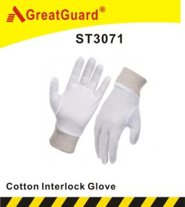 100% Cotton Interlock Knitted Wrist Glove (ST3071) pictures & photos