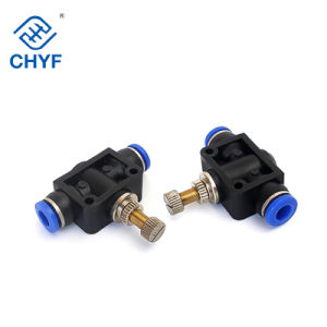 Black Pneumatic Throttle Valve Flow Speed Control 4-12mm Tube Connector Fittings