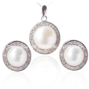 Cultured Freshwater Jewelry Set, Pearl Stud Earrings, Pearl Pendant