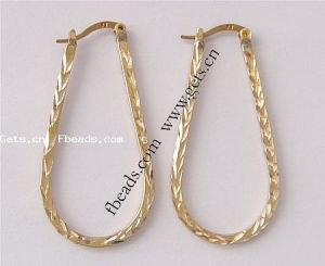 Teardrop Brass Hoop Earring, 43X21X2mm (Item No.: 100114191520)