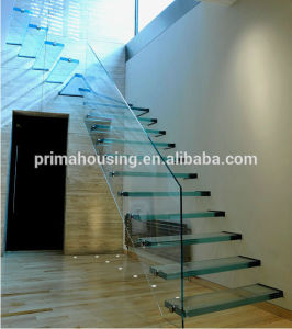 Invisilbe Stringer Floating Glass Staircase Design pictures & photos