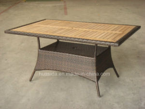 Outdoor Long Dining Table with Aluminum and Teak pictures & photos