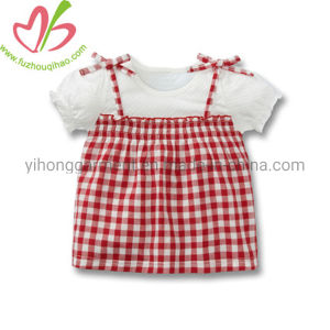 Two Pieces Gingham Cotton Cute Summer Baby Frock Skirt Top