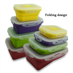 Eco-Friendly Foldable Silicone Food Storage Container, Microwave and Dishwasher Safe