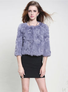 Women′s 100% Rabbit Fur Short Coat with Five-Pointed Star Pattern