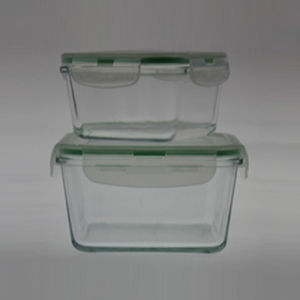 Borosilicate Glass Food Container S/2 Square pictures & photos