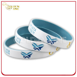 Customized Painted & Ink Filled Finish Silicone Rubber Bracelet pictures & photos