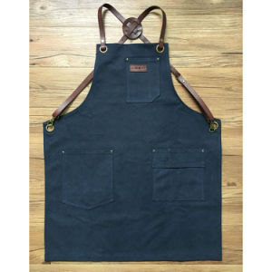 Handmade Durable Blue Canvas Welding Aprons with Criss Back Leather Strap