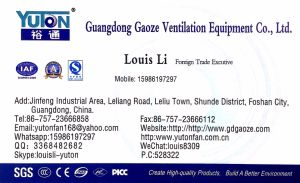 Yuton Centrifugal Fan with Direct Drive Arrangement pictures & photos