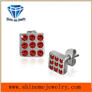 Fashion Red CZ Jewelry Stainless Steel Earrings pictures & photos