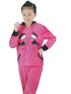 Girl′s Fashion Wear Sets Leisure Suit 3 PCS Coral Fleece