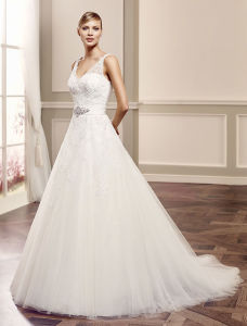 Chiffon Short Sleeve Bridal Wedding Gown Beach Casual Wedding Dress pictures & photos