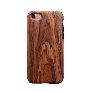 Newisdom Unique Slim Hybrid Rubberized Cover [Wood Over Rubber] Soft Real Wood Case for Apple iPhone7 - Sandalwood pictures & photos