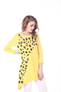 Yellow Sequin Animal Tunic 3/4 Sleeve Blouse for Women Bangkok pictures & photos