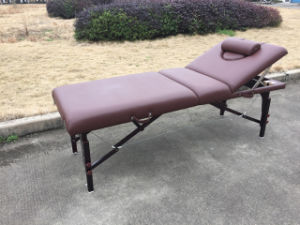 Brown-Red Beech Portable Massage Table with Adjustable Backrest Mt-009-2h pictures & photos