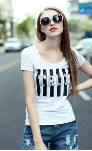 Women Short Sleeve Printing Cotton T Shirt pictures & photos
