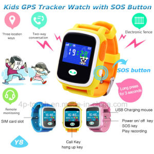 Colorful Touch Screen Kids GPS Watch Tracker with Geo Fence Y8 pictures & photos