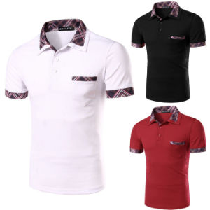 Men′s Stylish Tops Slim Fit Casual Polo Shirt with Pockets (A304)