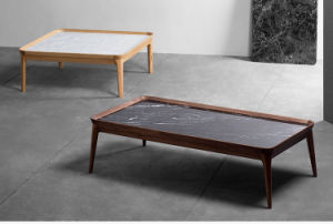 China Modern Square Marble Coffee Table With Wooden Legs Cts 001