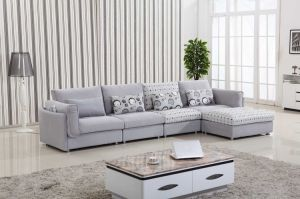 Cotton and Linen Light Grey Fabric Sofa pictures & photos