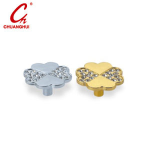 Hardware Accessories Clover Shape with Crystal Drawer Knob Handle pictures & photos