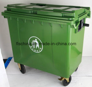 660L Plastic Wheelie Bin with Four Wheels and Open Top Structure pictures & photos