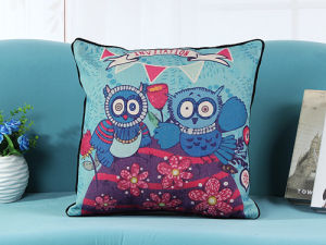 Retro Birds Printed Cushion Digital Printed Cushion Pillow (LCL04-411) pictures & photos