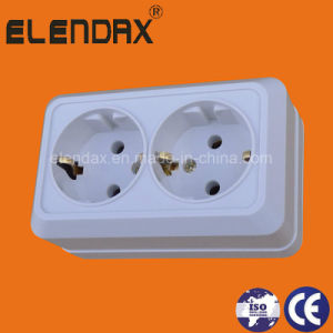 European Style Surface Mounted Double Socket Outlet with Earth (S1210) pictures & photos
