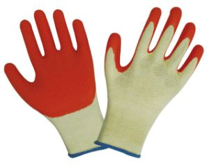 Textured Latex Coated Palm and Fingertips Latex Coated Gloves 1203 pictures & photos