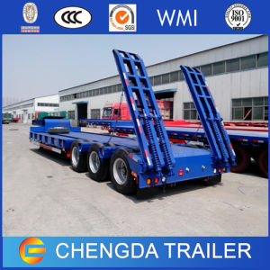 3 Axles 60tons Heavy Duty Low Bed Lowboy Truck Trailer for Sale pictures & photos