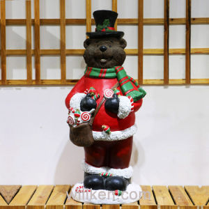 2017 New Design Christmas Bear Outdoor Children Garden Statues