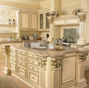 China Maple Luxurious Solid Wood Kitchen Cabinets