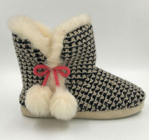 Lds Black and White Pompom Indoors Boots
