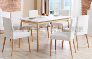 Wooden Base MDF Dining Table with Frabic Chair (NK-DTB089)