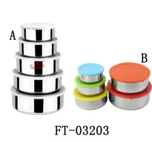 Stainless Steel 5PCS Round Keep Fresh Box Set (FT-03203)