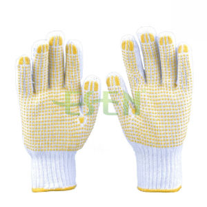 White Knitted PVC Dots Industrial Safety Work Cotton Gloves (D16-H2)