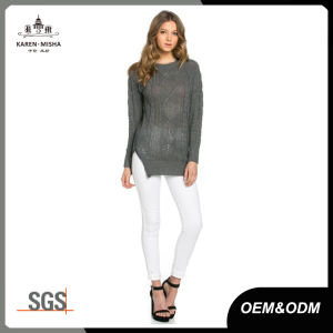 Grey Womens Cable Knit Jumper Sweater with Zipper pictures & photos