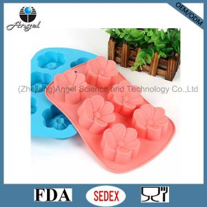 6 Flowers Silicone Chocolate Mold Cube Tray Baking Tool Sc34