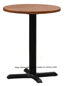 Replica Industrial Dining Restaurant Iron Steel Leg Black Wooden Table pictures & photos