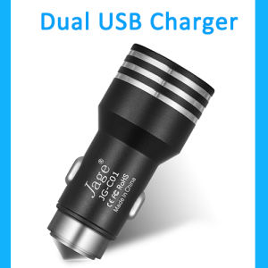 Factory Customized Portability Colourful Car Charger, Metal Case Dual USB Car Charger