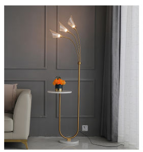 Iron Floor Lamp PMMA Lampshade Nordic Creative Marble Base Bedroom Light