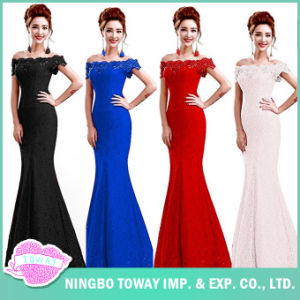 Evening Party Ladies Debutantes Long Summer off The Shoulder Dress pictures & photos