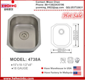 304 Undermount Single Bar Sink 4738A (1815) with Cupc pictures & photos