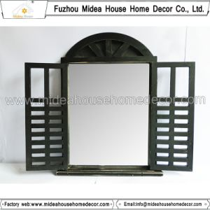 Antique Vintage Black Handmade Decorative Wooden Window Shutter Mirror